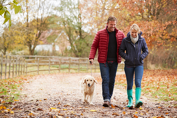 Couple walking with their dog down an autumn path